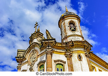 Ancient historical catholic church facade in the city of Ouro Preto