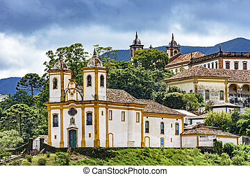 Ancient historical church and houses in the city of Ouro Preto