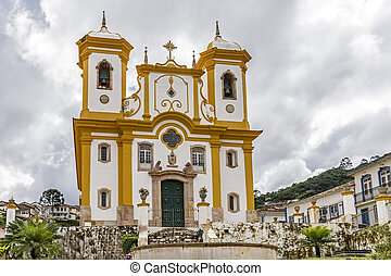Ancient historical church high in the city of Ouro Preto