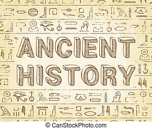 Ancient history text and Egyptian hieroglyphics background