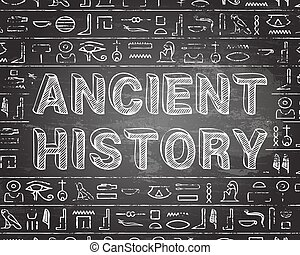 Ancient history text and Egyptian hieroglyphics on blackboard background