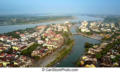 ancient Hoian on channel both banks - pictorial upper view...