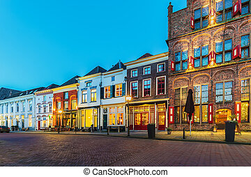 Ancient houses in the historic Dutch city of Doesburg -...