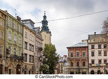 houses on a market square in Lviv