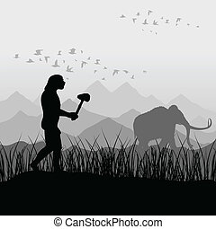Ancient hunter - The ancient person on hunting for a mammoth...