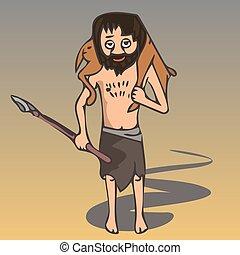 ancient hunter with prey vector cartoon