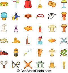 Ancient icons set, cartoon style