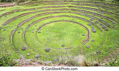 Ancient Inca circular terraces at Moray (agricultural experiment station), Peru