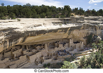 Ancient Indian city - Ancient Indian ruins at Mesa Verde,...