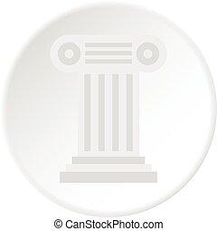 Ancient Ionic pillar icon circle