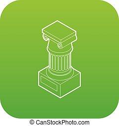 Ancient Ionic pillar icon green vector