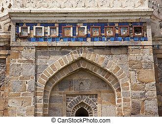 Ancient Islamic Decorations Sheesh Shish Gumbad Tomb Lodi Gardens New Delhi India