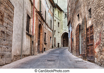 picturesque ancient narrow alley in the old italian town Trevi, Umbria, Italy