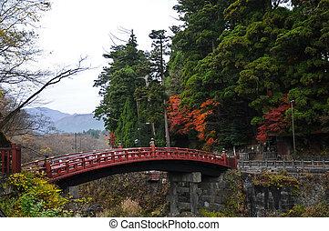 Ancient Japanese red arc bridge and Autumn leaves in Senda Japan