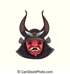 Ancient Japanese Samurai mask and helmet with horns vector Illustration on a white background