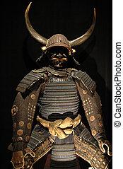 Ancient japanese samurai warrior armour with helmet and...