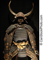 Ancient japanese samurai warrior armour with helmet and mask.