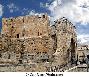 Ancient Jerusalem. Jaffa Gate - Jaffa Gate. Ancient...