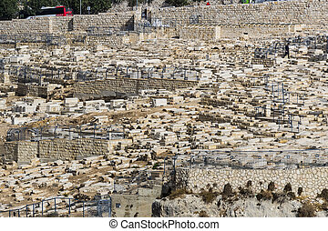 Ancient Jewish cemetery in Jerusalem on the Mount of Olives