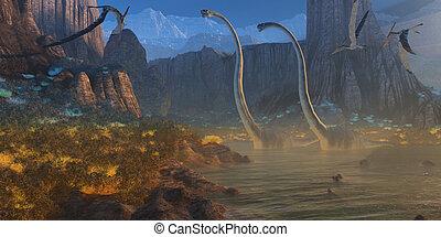Ancient Jurassic Coast - Two Omeisaurus dinosaurs crossing...