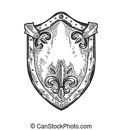 Ancient knight shield engraving vector illustration. Scratch...