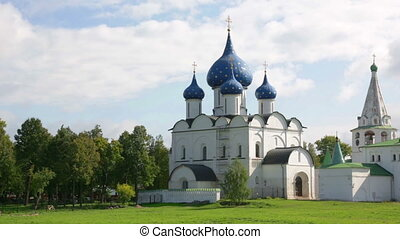 ancient Kremlin in Suzdal,  Golden Ring Russia, panning