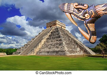 Ancient Kukulcan Mayan temple chichen itza snake - Ancient...