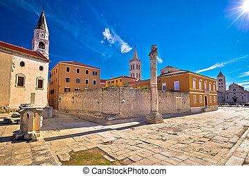 Ancient landmarks of Zadar view, Dalmatia, Croatia