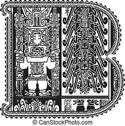 Ancient letter B. Vector illustration