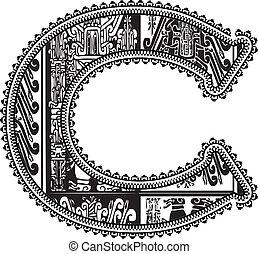 Ancient letter C. Vector illustration
