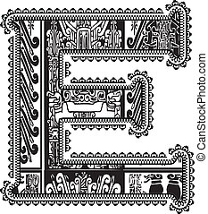 Ancient letter E. Vector illustration