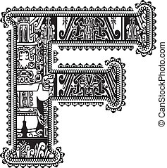Ancient letter F. Vector illustration