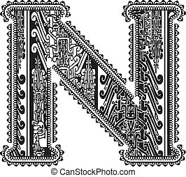 Ancient letter N. Vector illustration