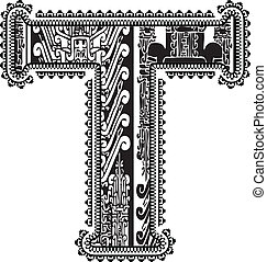 Ancient letter T. Vector illustration