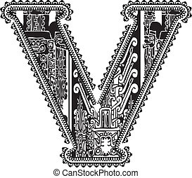 Ancient letter V. Vector illustration