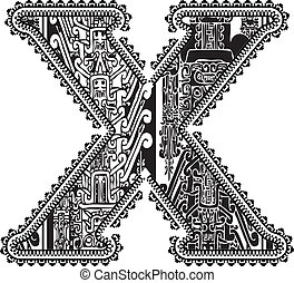 Ancient letter X. Vector illustration