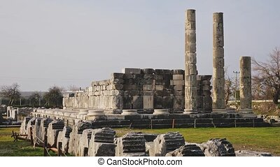 Ancient Lycian sacred cult center of Letoon overlooking ruined Temples of Leto in Mugla Province in Turkey