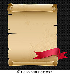 Vector old manuscript with a red ribbon