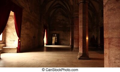 Beautiful, ancient marble hall with red velvet curtains and large bright windows.