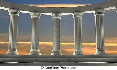 Ancient marble pillars in elliptical arrangement with orange...