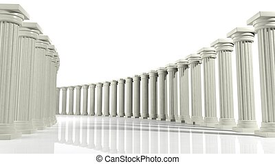 Ancient marble pillars in elliptical arrangement isolated on white Ancient marble pillars in elliptical arrangement isolated on white