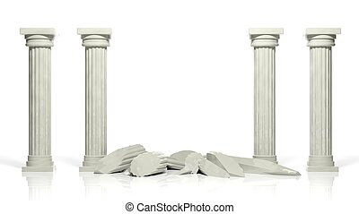 Ancient marble pillars with two middle broken isolated on...