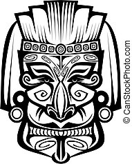 Ancient mask - Ancient ceremony mask isolated on white for...