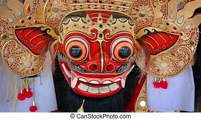 Ancient mask of Barong - character of the mythology of Bali...