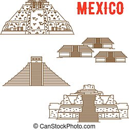 Ancient Maya and Incas culture landmarks of Mexico