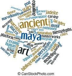 Ancient Maya art - Abstract word cloud for Ancient Maya art...