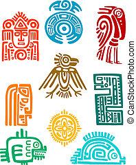 Ancient maya elements and symbols set of religious design....