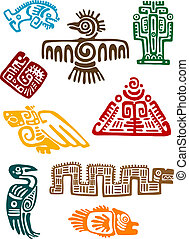 Ancient maya monsters set of religious design. Vector...