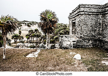 Ancient Mayan Architecture and Ruins located in Tulum,...