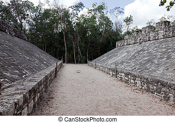 Ancient Mayan Ball Court - Ball Court in the ancient Mayan...